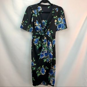 Zara dress xs with blue and green florals